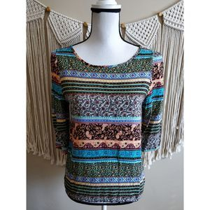 Everly Multicolored Boho Floral Print Top Size M